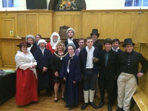 The cast of the production with the Deputy Mayor of Huntingdon, Tanya Forster.