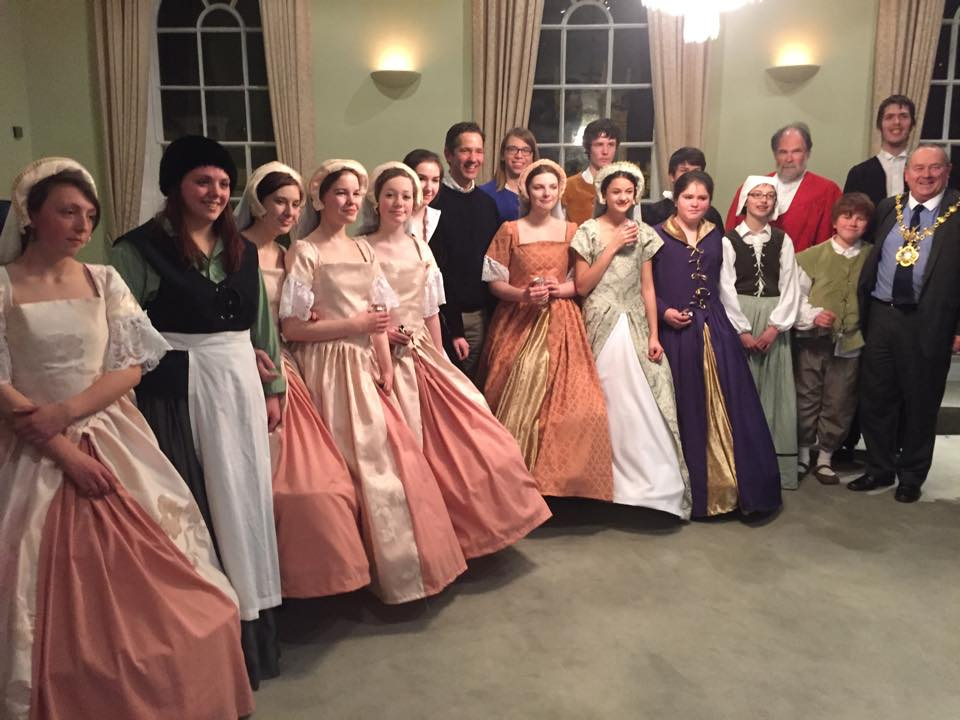 A group photo of the cast from the production with Mayor of Huntingdon, Bill Hensley and Huntingdon MP Jonathan Djanogly